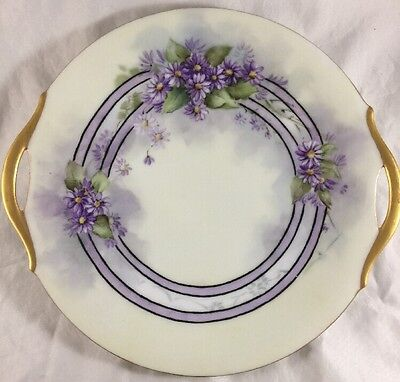 Antique Limoges Hand Painted 2 Handles Purple Gold Floral Cake Plate Signed