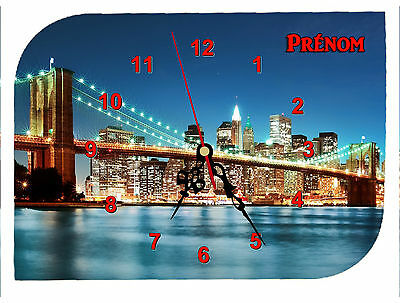 clock wall clock REF F012 NEW YORK USA FIRSTNAME TEXT TO CHOOSE