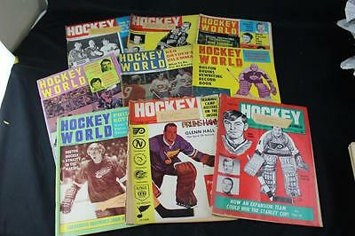 Lot of 9 Vintage 1966-1971 Hockey World Magazines w/Bobby Hull & More! AS-IS