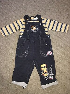 Baby Boy Set. Overalls And Long Sleeve T Shirt Size 0 .2 Piece