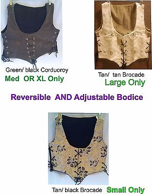 Renaissance BODICE/ VEST Adjustable Reversible Pirate Wench Adult Costume