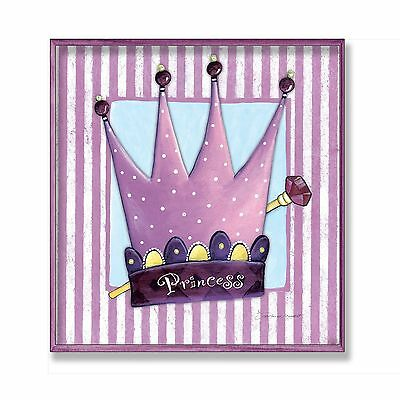 The Kids Room by Stupell Purple Princess Crown with Stripes and Polka Dot... New
