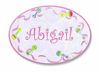 The Kids Room by Stupell Abigail Pink with Multi-Colored Rattle Border Pe... New