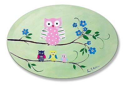 The Kids Room by Stupell Owls on Branches Oval Wall Plaque New