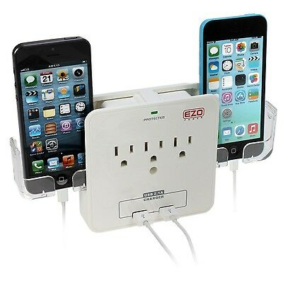 UL Listed EZOPower 3 AC Outlet Plug + 2 USB Charger Ports (2.1A) with Sli... New