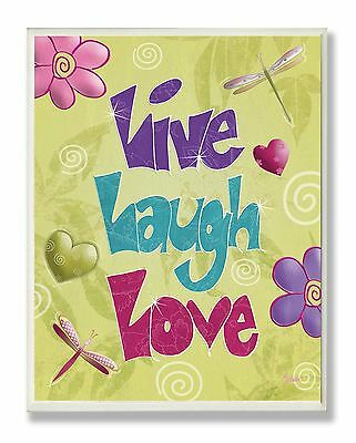 The Kids Room by Stupell Live Laugh Love with Green Swirly Background Rec... New