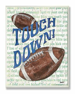 The Kids Room by Stupell Touchdown Football Typography Rectangle Wall Pla... New