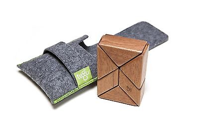 6 Piece Tegu Pocket Pouch Prism Magnetic Wooden Block Set Mahogany New