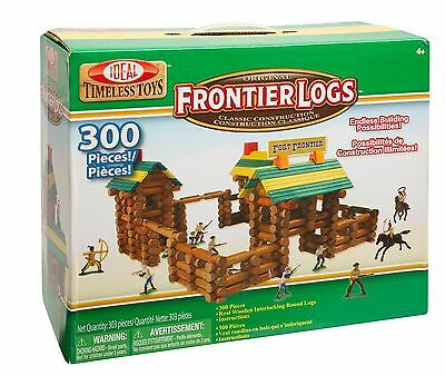 Ideal Frontier Logs Classic All Wood Construction Set with Action Figures... New