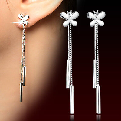 Hot 925 Sterling Silver Long Earrings Rhinestone Crystal Drop Dangle For Women