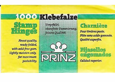 Stamp Hinges Made In Germany 1000 Folded-Unopened Pack Of Prinz