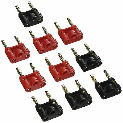 Seismic Audio-Pack of 10 (5 Red and 5 Black) Banana Plugs Gold Speaker Ca... New