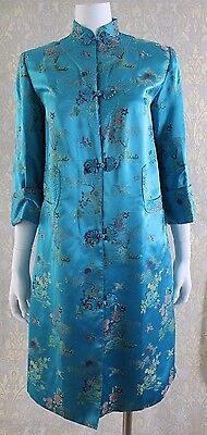 Gorgeous VTG 70s PEONY Asian Shanghai Silk Quilted Dress Robe Long JACKET 36