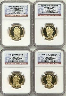 2010 S Presidential Dollar 4 Coin Proof Set NGC PF70 Ultra Cameo UC PR70 $1