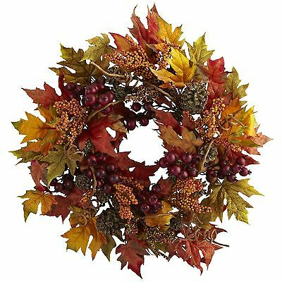 Nearly Natural 4810 Maple and Berry Wreath 24-Inch Multicolored-Orange/Br... New