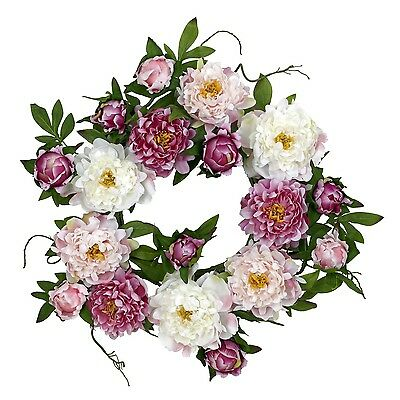 Nearly Natural 4788 Peony Wreath 22-Inch Pink New
