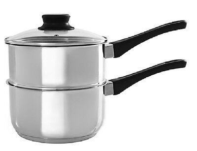 2 Tier Level Steamer Set Saucepan Pot Pan Cookware Vegetable Steam Double 18Cm