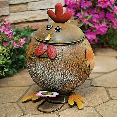 Bits and Pieces - Rooster Trash Can - Hand Painted Functional Metal Sculp... New