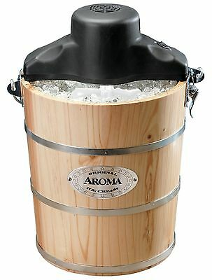 Aroma AIC-206EM 6-Quart Wood-Barrel Ice-Cream Maker Black New