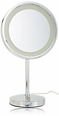 Jerdon HL1015CL 9.5-Inch Tabletop LED Halo Lighted Mirror with 5x Magnifi... New