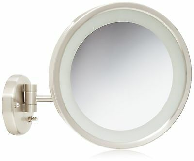 Jerdon HL1016NL 9.5-Inch LED Halo Lighted Wall Mount Mirror with 5x Magni... New