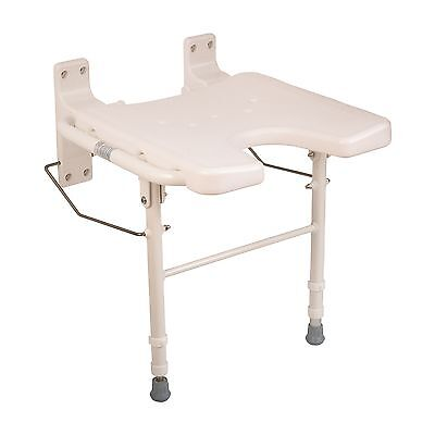 HealthSmart Wall Mount Fold Away Bath Chair Shower Seat Bench with Adjust... New