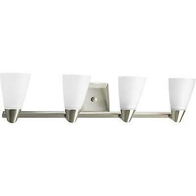 Progress Lighting P2808-09 Rizu Four Light Bath Vanity Brushed Nickel Fin... New