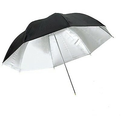 CowboyStudio 33 inch Black and Silver Photo Studio Reflective Umbrella New