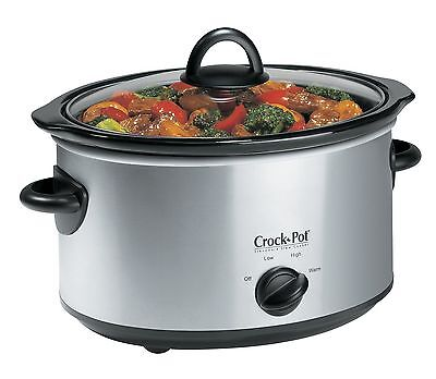 Crock-Pot 4 Qt Stainless Steel Oval Slow Cooker New