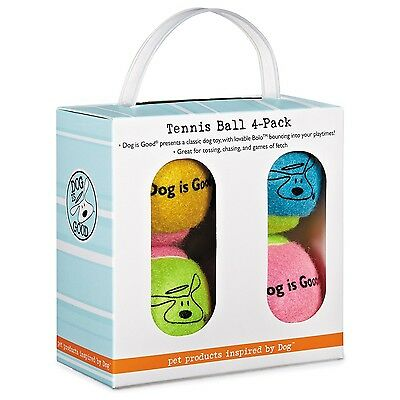 Dog Is Good Tennis Balls for Dogs 4-Pack Box New