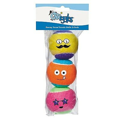 Grriggles Funny Faces Tennis Balls for Dogs 3-Pack New