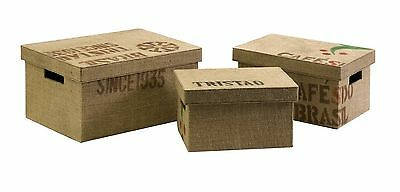IMAX Tavin Jute Fabric Boxes Set of 3 New
