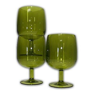 Table in a Bag G030512 Green Plastic Wine Glasses 8-Ounce Set of 12 New
