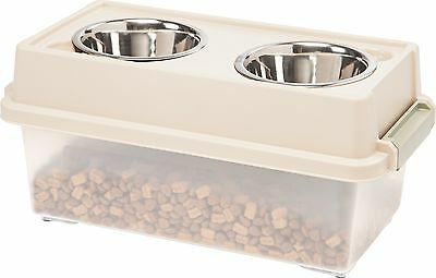 IRIS USA Inc. FS-M CLEAR/ALMOND/SAGE Medium Elevated Dog Feeder in Almond... New