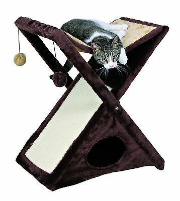 Trixie 44770 Pet Products Miguel Fold and Store Cat Tower Chocolate Brown New