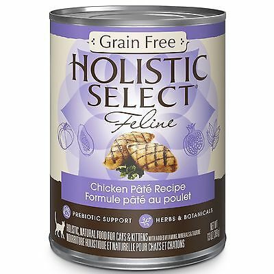 Holistic Select Natural Canned Grain Free Wet Cat Food Chicken Pate 13-Ou... New