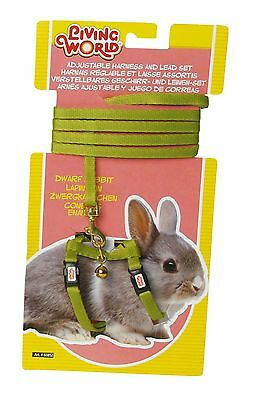 Living World Adjustable Harness and Lead Set for Dwarf Rabbits Green Lead... New