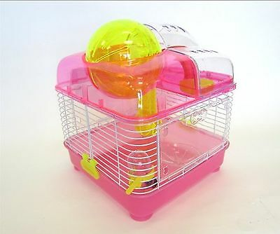 YML Clear Plastic Dwarf Hamster Mice Cage with Ball on Top Pink New