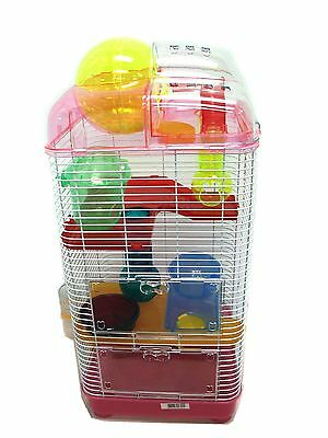 YML 3 Level Clear Plastic Dwarf Hamster Mice Cage with Ball on Top Pink New