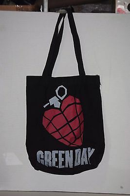 Green Day Black Shoulder Tote Bag Heart Grenade