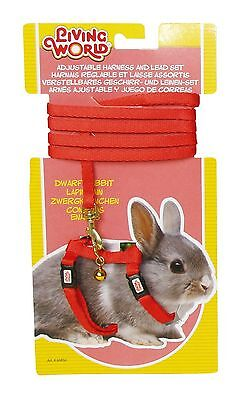Living World Adjustable Harness and Lead Set for Dwarf Rabbits Red 1.2 Me... New