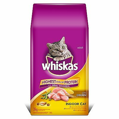 Whiskas Dry Cat Food Indoor with Real Chicken 3kg New