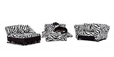Keet 3 pcs Pet Set; Sofa Chaise and Bed in Zebra New