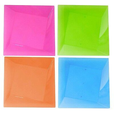 Party Essentials Hard Plastic 10 Count Square Twist Party/Dinner Plates 1... New
