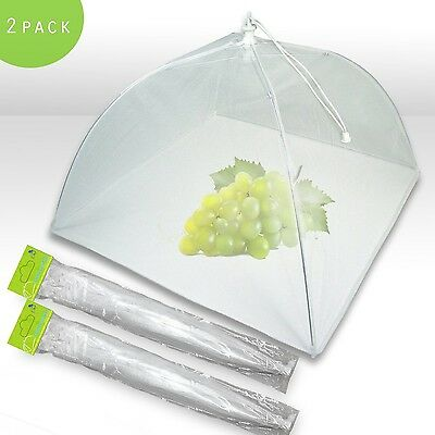 Set of 2 Large Pop-Up Mesh Screen Food Cover Tents - Keep Out Flies Bugs ... New