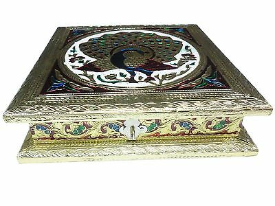 Indiabigshop Full Gold Meenakari work 8X8inch Dryfruit Box New