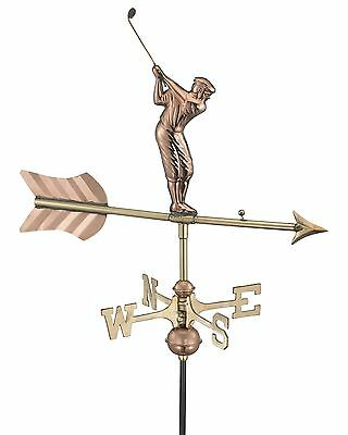 Good Directions Golfer Cottage Weathervane with Roof Mount Pure Copper New
