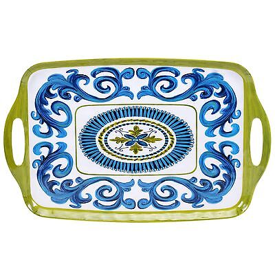 Certified International Corp Blue Grotto Melamine Rectangular Tray with H... New