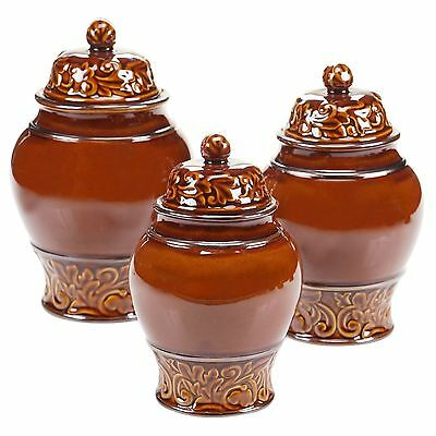 Certified International 57631 3 Piece Solstice Canister Set Brown New