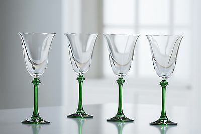 Galway Crystal Liberty Goblets (Set of 4) Clear/Green New